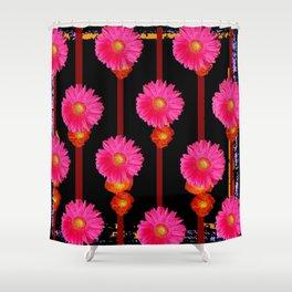 Fuchsia Gerber Daisy Flowers & Black Patterns Shower Curtain