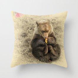 Bear Cub with Ball Throw Pillow