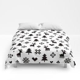 PIXEL PATTERN - WINTER FOREST Comforters