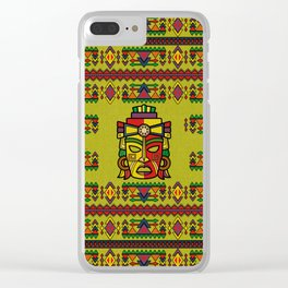 Colorful Aztec Inca Mayan Mask Clear iPhone Case