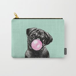 Bubble Gum Black Pug in Green Carry-All Pouch