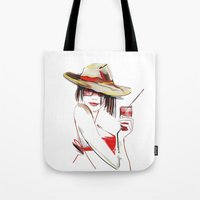 cocktail Tote Bags featuring cocktail by tatiana-teni