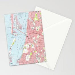 Vintage Map of Clearwater Florida (1974) Stationery Cards