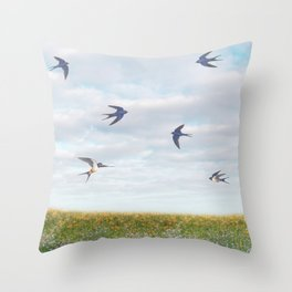 barn swallows, day lilies, and chicory Throw Pillow