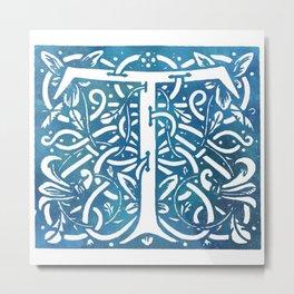 Letter T Elegant Vintage Floral Letterpress Monogram Metal Print