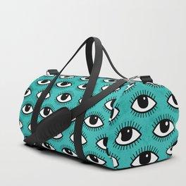 Eyes pattern on blue background Duffle Bag
