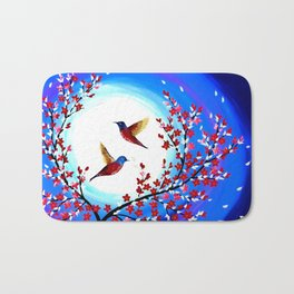 Red Cherry Blossom Bath Mat
