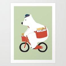 Polar bear postal express Art Print