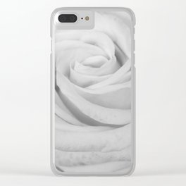 Single white rose close up Clear iPhone Case