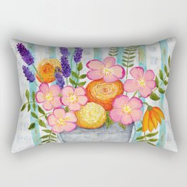 Old chair with flowers Rectangular Pillow