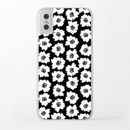 Linocut botanical nature floral flower art nursery black and white decor newborn Clear iPhone Case