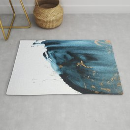 A Minimal Sapphire and Gold Abstract piece in blue white and gold by Alyssa Hamilton Art  Rug