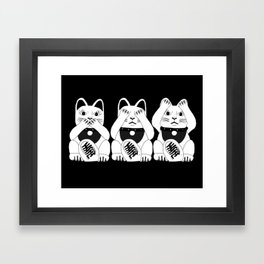 Three Smart Cats Framed Art Print