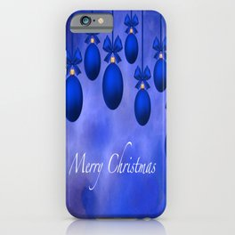 Merry Christmas Ornaments Bows and Ribbons – Blue iPhone Case