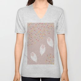 Pink Spring Watercolor with White Flowers Unisex V-Neck