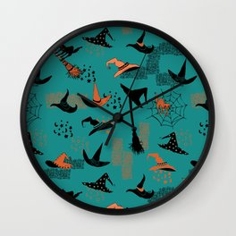 Halloween Witch Hats Wall Clock