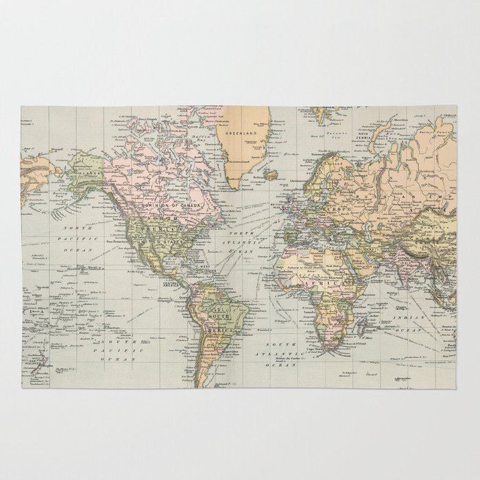 1892 Map Of The World.Vintage Map Of The World 1892 Rug By Bravuramedia Society6