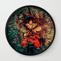 goku Wall Clocks featuring Kid Goku by Sirenphotos
