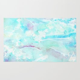 Pastel blue pink hand painted watercolor pattern Rug