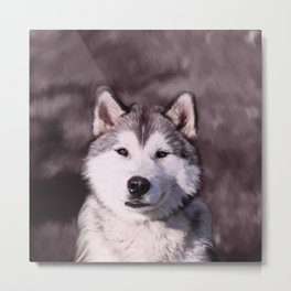 Alaskan Malamute watercolour Art Portrait Metal Print