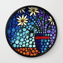 You Cant Hide Beautiful - Lively floral by Labor of Love artist Sharon Cummings. Wall Clock