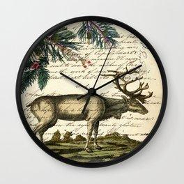 western country primitive christmas mountain animal wildlife winter pine tree elk Wall Clock