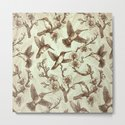 Sepia Hummingbird Pattern by kateoharaillustration
