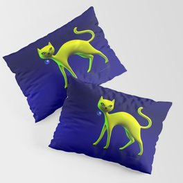 The Yellow Cat And Glass Blue Cherry Pillow Sham
