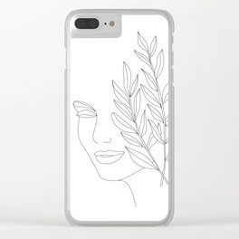 Minimal Line Art Woman Face Clear iPhone Case