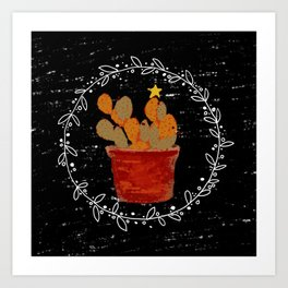 Merry Christmas Cactus Art Print