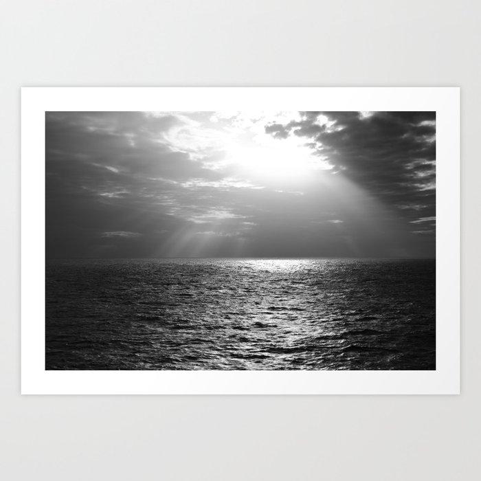 Black and White Sea Art Print