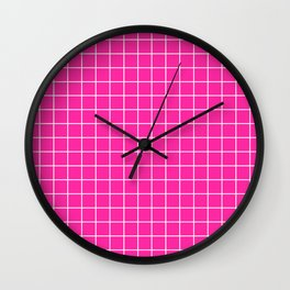 Persian rose - pink color - White Lines Grid Pattern Wall Clock