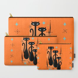 Effervescent Orange Atomic Age Black Kitschy Cat Trio Carry-All Pouch