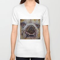 bulldog V-neck T-shirts featuring Bulldog by Michael Creese