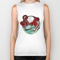 kraken Biker Tanks featuring Kraken by Beth Naeyaert