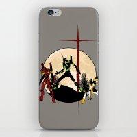 neon genesis evangelion iPhone & iPod Skins featuring Neon Genesis Evangelion - Hill Top by kamonkey