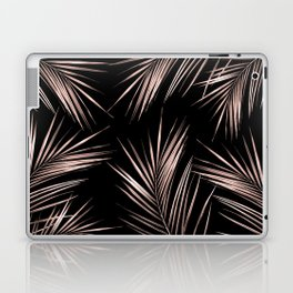 Rosegold Palm Tree Leaves on Midnight Black Laptop & iPad Skin