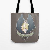 destiel Tote Bags featuring [ Supernatural ] Destiel Castiel Dean Winchester by Vyles
