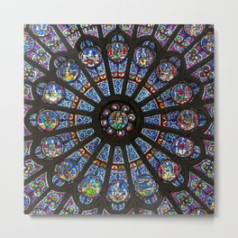 STAINED GLASS Notre Dame Cathedral Paris France Metal Print
