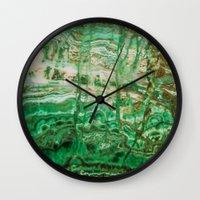 malachite Wall Clocks featuring MINERAL BEAUTY - MALACHITE by Catspaws