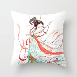WaterColor beauty: flying Apsaras Throw Pillow
