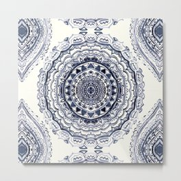 Supernova-In Navy, Dark Blue, & Grey Metal Print