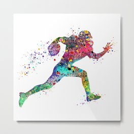 Football Player Sports Art Print Watercolor Print American Football Metal Print