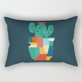 Blooming cactus in cracked pot Rectangular Pillow