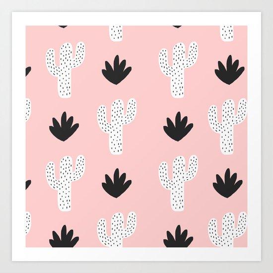 Pink n Black Cactus Art Print