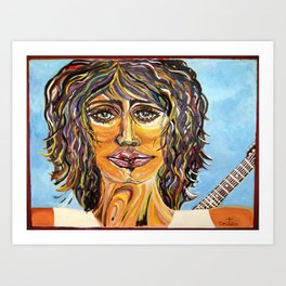 Guitar back me up Glow Art Print