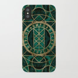 Web of Wyrd The Matrix of Fate - Gold and Malachite iPhone Case