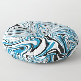 Abstract Black & Blue Topographic map Floor Pillow