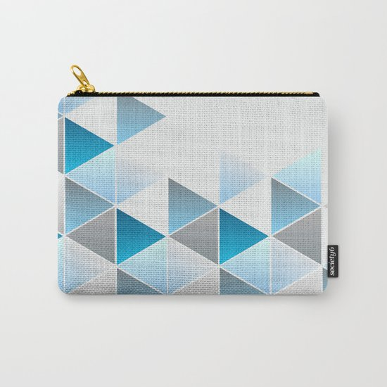 Triangles Blue Gray Geometric Carry-All Pouch
