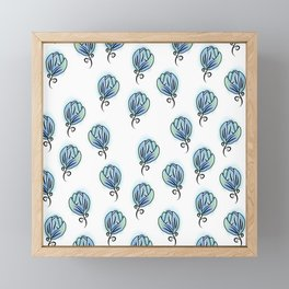 Blue Flowers Framed Mini Art Print